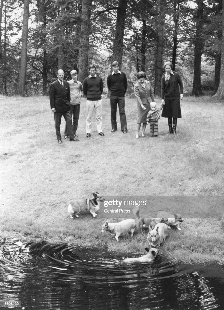 Members of the British Monarchy watching their corgis swim in a wood (left to right); The Prince Philip, Duke of Edinburgh, Prince Edward, Charles, Prince of Wales, Prince Andrew, Queen Elizabeth II, Princess Anne and Peter Phillips, holding his mother's hand.