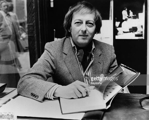 Orchestra conductor Andre Previn in London signing copies of his new book 'Orchestra' and his record 'The Sound of the Orchestra' at Liberty's