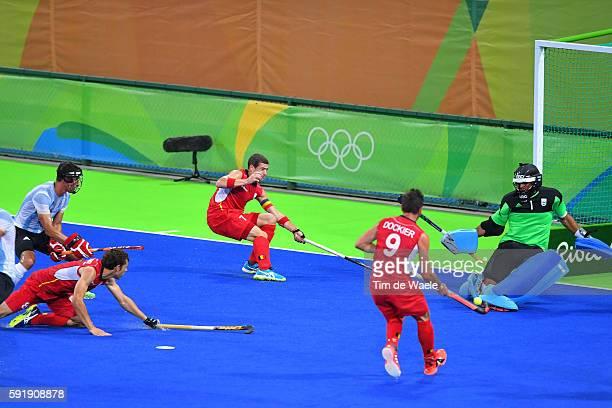 31st Rio 2016 Olympics / Hockey : BEL - ARG Men's Gold Medal Match Sebastien DOCKIER / John-John DOHMEN / Florent VAN AUBEL / Olympic Hockey Centre /...