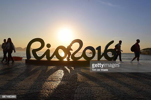 31st Rio 2016 Olympics / Previews Illustration / Olympics Rings Logo / Sunset at Copacabana Beach / Summer Olympic Games /