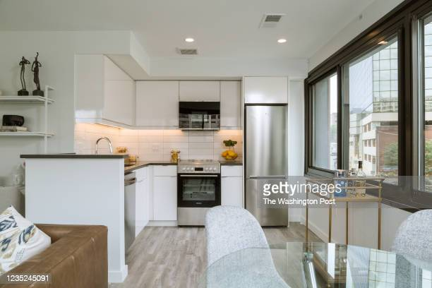 View of Kitchen from the Dining area in the Studio Model Unit at The Elan on August 31, 2021 in Silver Spring Maryland.