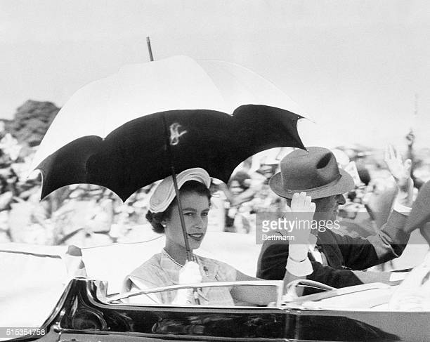 3/20/1954Townsville Australia The top was back so the crowds could see Queen Elizabeth II and the Duke of Edinburgh as they drove through Townsville...
