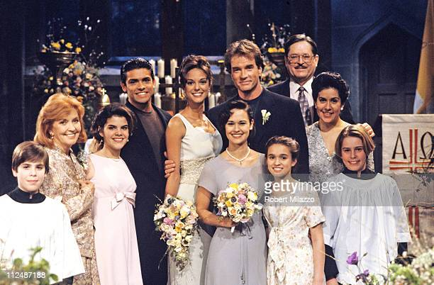 CHILDREN 3/20/95Peggy Anita Mateo Julia Rosa Hector and Isabella posed with Maria and Edmund at their wedding on Walt Disney Television via Getty...