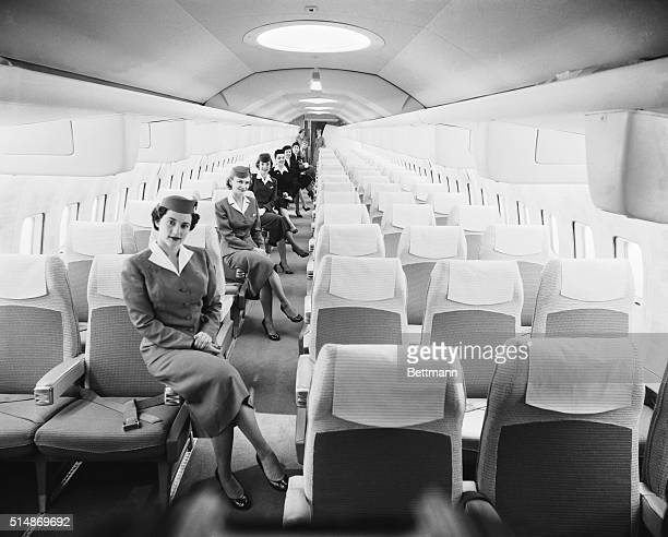 3/21/1956New York NY Mockup of tomorrrow's jet comfort Gracing the luxurious mockup of the Boeing Jet Stratoliner which will enter service with...
