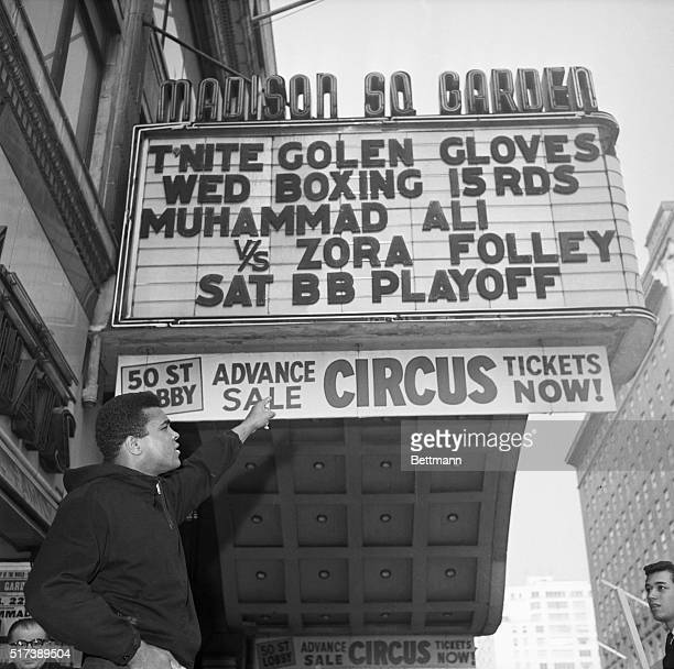 New York, NY: Madison Square Garden marquee showing the last advertising of a heavyweight championship fight at the Garden before the future bouts...