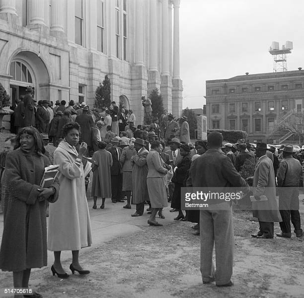 3/21/56Montgomery Alabama This is a general view of the crowd outside the Montgomery County courthouse during the lunch recess in the trial March...
