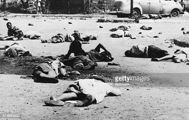 3/21/60Vereeniging South Africa The bodies of dead and wounded lie in the street March 21st after police opened fire on a crowd of stonethrowing...