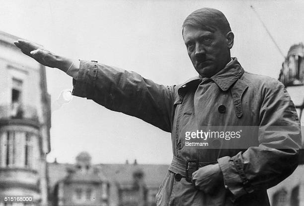 3/2/1932Picture shows Adolf Hitler extending his hands in the Fascist salute