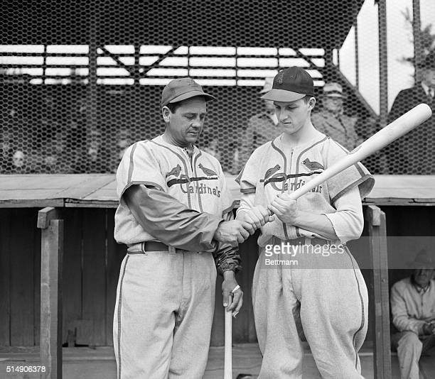 3/2/1942St Petersburg FL Gus Mancuso veteran catcher looks over young Stanley Musial as the Donora PA batsman shows his grip Musial started as a...