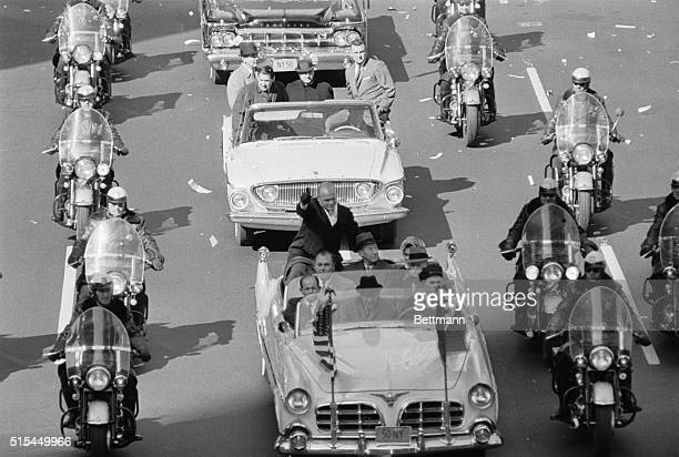 3/2/1962New York NY Astronaut John H Glenn Jr waves to throngs from the back of his open car March 2 as his motorcade heads for the United Nations...