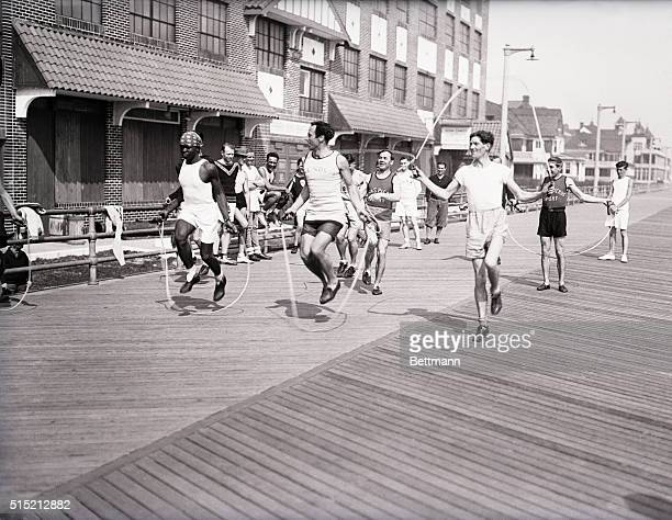3/22/1929New York NY BUNION DERBY MEN TRAIN FOR BIG HOP This photo shows entrants in the C C Pyle's Cross Country Derby training for the start on the...