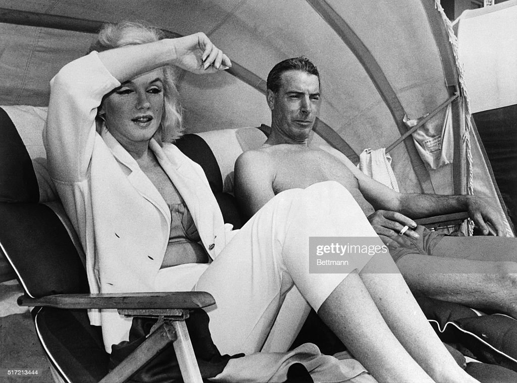 Relaxing in a cabana on Redington Beach are Marilyn Monroe and Joe DiMaggio March 22nd. Marilyn is in town for a short vacation whle Joe is here with the New York Yankees during their Spring Training acting as their batting coach.