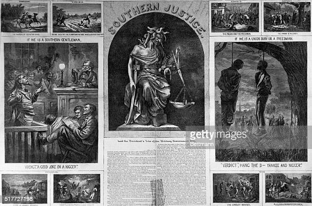 3/23/1867Harpers Weekly Magazine article in which illustrations of political cartoons satirize the difficult era of Reconstruction The Black Codes...