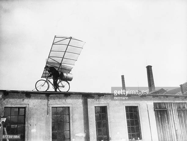 3/24/1932Berlin GermanyMax Wiedenhoft wellknown German airplane designer poises on the roof of one of the Tempelhof Aerodrome buildings about to...
