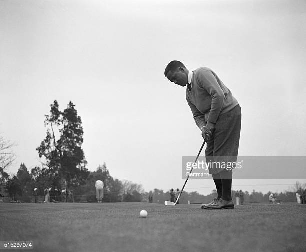 3/24/1934Augusta GA Showing his skill with driver and long irons Bobby Jones fell down with his putting when he competed in the Masters' Invitation...
