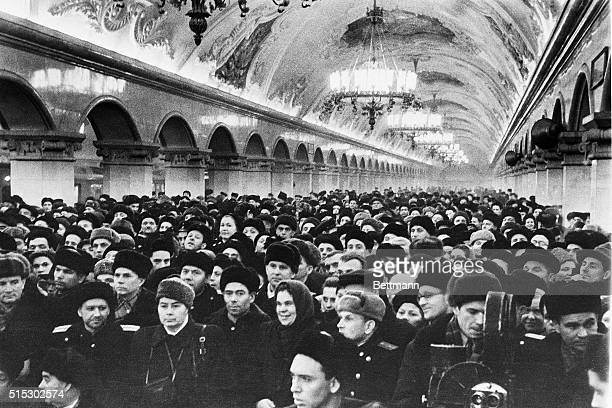 3/24/1952Moscow USSR Shown here is the meeting at the KomsomolskayaRing station of the Moscow Metro held to mark the opening of a new section All 39...