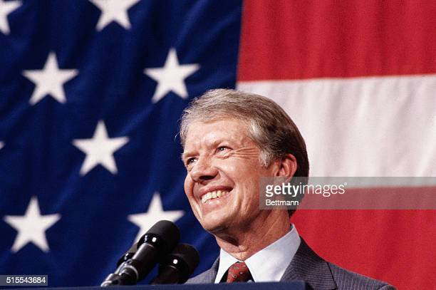 3/24/1979Elk City Okla Closeup of President Jimmy Carter addressing a town meeting American flag in background