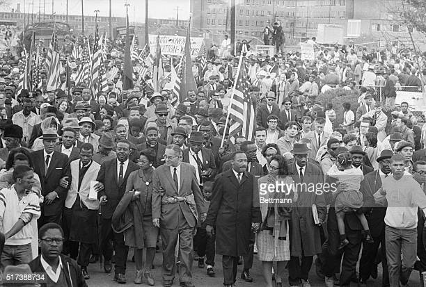 3/26/1965Montgomery AL Dr Martin Luther King leads thousands of civil rights demonstrators out on the last leg of their Selma to Montgomery 50mile...
