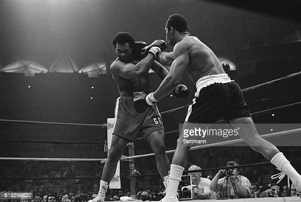 3/26/1974Caracas Venezuela In one of the few good blows that he managed to get in challenger Ken Norton scores with right hook that makes champ...