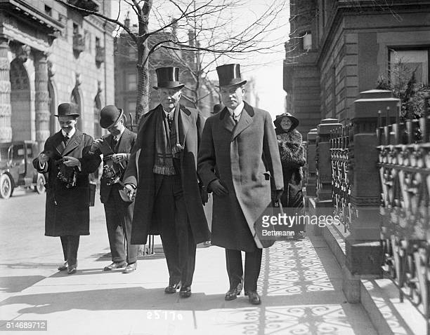 Society on Fifth Avenue on Palm Sunday They are John D Rockefeller Sr and John D Rockefeller Jr
