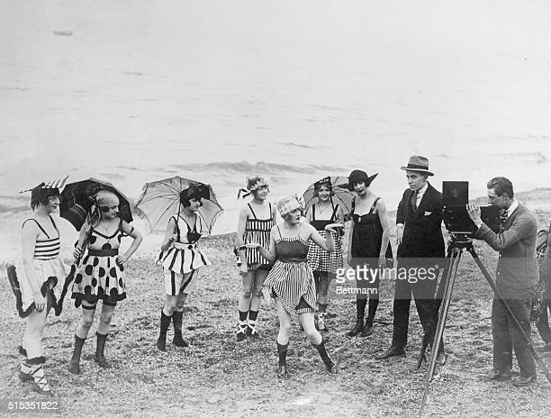 3/29/1920EnglandShooting moving pictures on the beach of a Southern town of England Photo shows English beauties in bathing suits