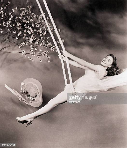 3/29/1945Actress Joan Leslie is to star in the movie Janie Gets Married She is shown swinging on a swing