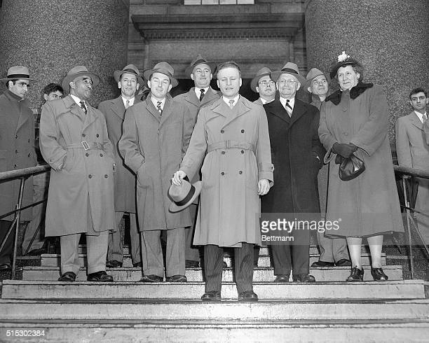 3/29/1951New York NY Photo shows the jury that brought in a guilty verdict against all three defendants in the atomic spy trial is shown outside...