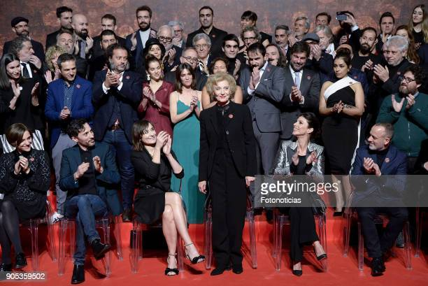 32nd Goya Awards nominated pose for a group picture during the Goya Awards Candidates Meeting at the Real Casa de Correos on January 15 2018 in...