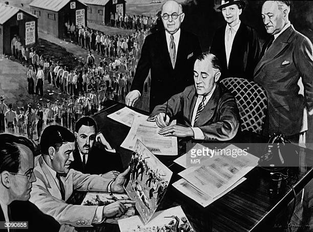32nd President of the United States Franklin Delano Roosevelt signs the National Labor Relations Act