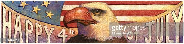 32p x 8p Earl F Lam III color illustration of 'Happy 4th of July' banner with eagle in center and flag in background