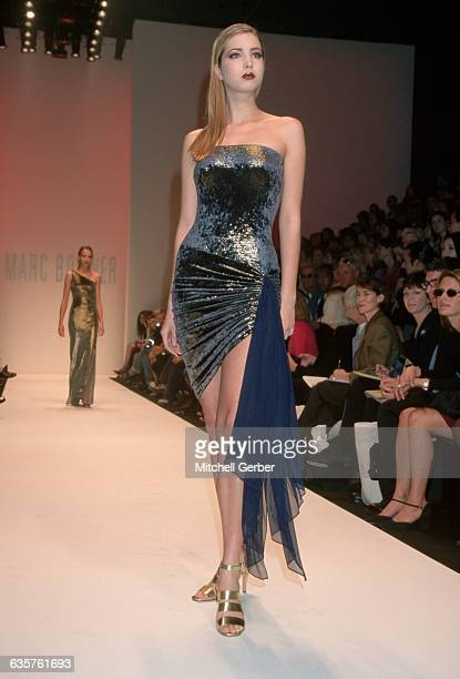3/30/1998New York NY Ivanka Trump wearing a metallic strapless dress at the Marc Bouwer Fall '98 Fashion Show at Bryant Park