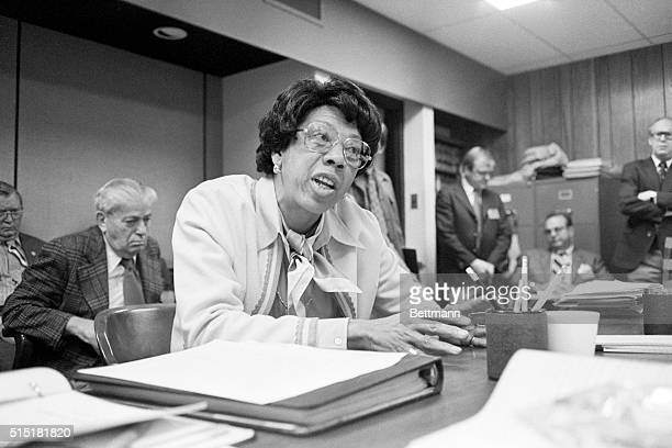 Trenton, NJ- Former Wimbledon tennis champion Althea Gibson, currently serving as NJ's Athletic Commissioner, testifies at a committee hearing...