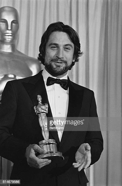 """Hollywood, CA: Actor Robert De Niro, closeup, with his Oscar for """"best Male Performance"""" in the movie """"Raging Bull."""""""
