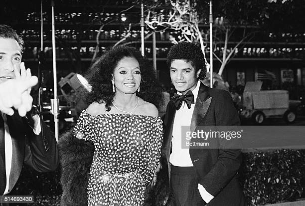 3/31/1981Hollywood CA Singers Diana Ross and Michael Jackson arrive at the Music Center for the Academy Awards Ross is wearing a polka dot dress and...