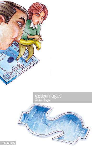 33p x 52p Brent Castillo color illustration of a husband and wife preparing to dive into a dollarshaped swimming pool from a dollar bill diving board...