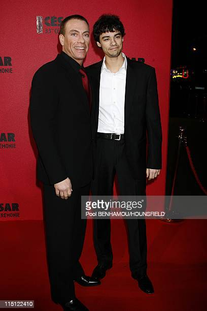 33rd Cesar Awards Ceremony at the Theatre du Chatelet in Paris France on February 22 2008 JeanClaude Van Damme and his son Kristopher