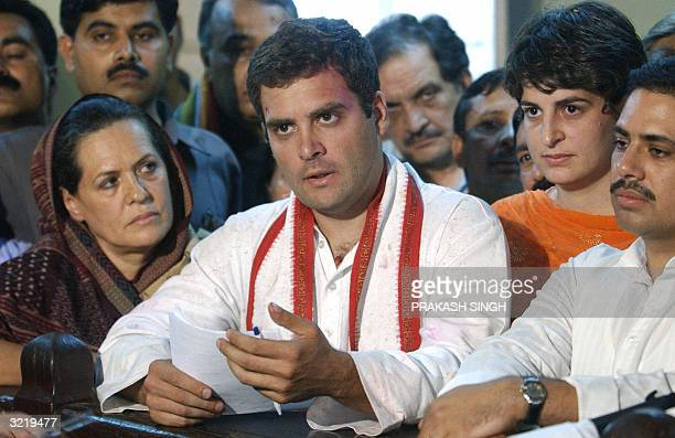 33yearold Rahul Gandhi grandson of India's first prime minister Jawaharlal Nehru takes the oath after he filed his papers to contest the upcoming...