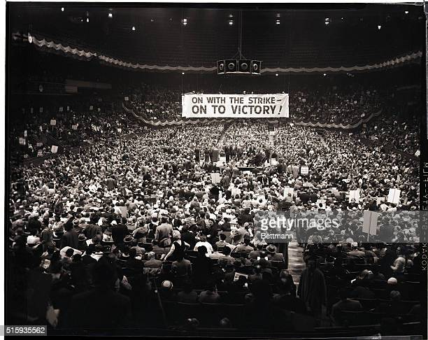 3/4/1958New York New YorkView of the interior of Madison Square Garden as thousands of strikers in the billiondollar garment industry jammed into the...
