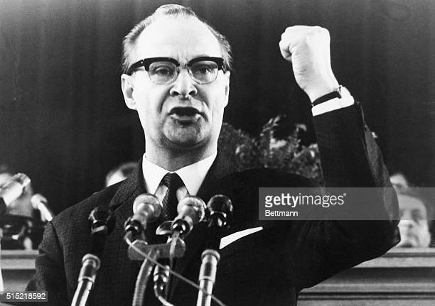 3/4/1969Prague Czechoslovakia Alexander Dubcek now first secretary of the Central Committee of the Czechoslovakian Communist Party speaks at the...