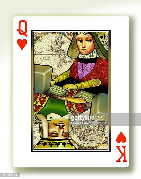 34p x 43p Earl F Lam III color illustration of a playing card of the king and queen of hearts typing at computer keyboards with old world maps in...