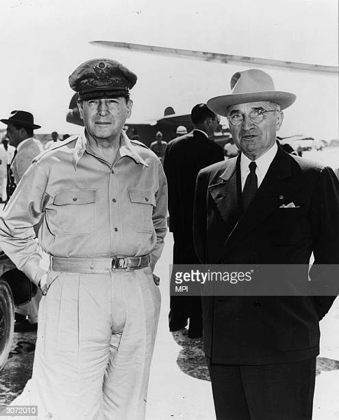 34th VicePresident and 33rd President of the United States Harry S Truman and American General Douglas MacArthur They are pictured at the Wake...