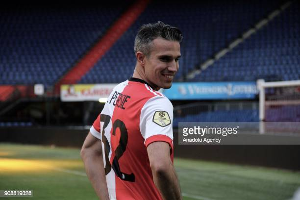 34yearold Robin van Persie new player of Feyenoord is presented to the press on January 22 at De Kuip Stadium in Rotterdam Netherlands