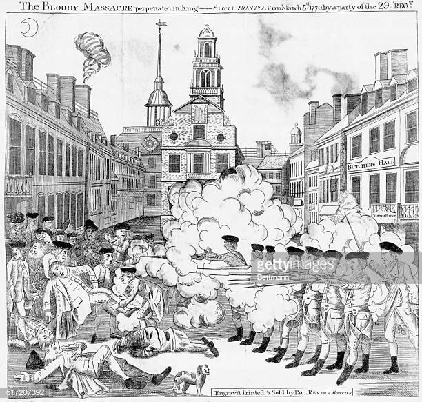 Boston, MA- Boston Massacre in King Street, Boston. Engraving by Paul Revere. BPA2# 5139