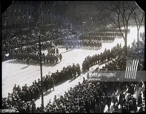 3/5/1919New York NY Parade of the 369th Black Infantry formerly the 15th Aerial view of troops marching in parade