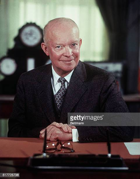 3/5/1956Washington DC President Eisenhower poses for portrait at his desk in the White House