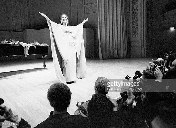 3/5/1974New York NY Soprano Maria Callas greets the audience after a concert in New York's Carnegie Hall Singing a program of Italian and French...