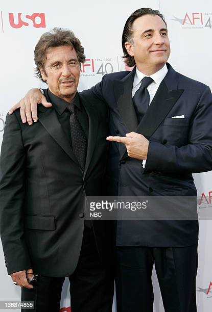 A TRIBUTE TO AL PACINO Pictured Actors Al Pacino and Andy Garcia arrive at the '35th Annual AFI Life Achievement Award A Tribute to Al Pacino' held...
