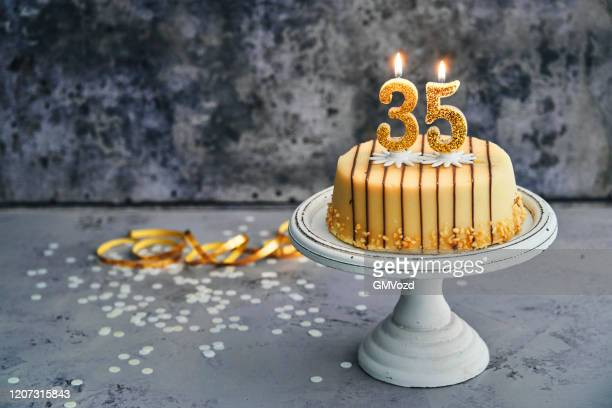 35th birthday cake - marzipan stock pictures, royalty-free photos & images
