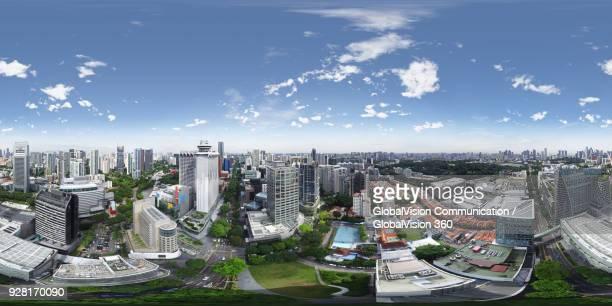 360-degree aerial panorama above orchard road, singapore - 全天周パノラマ ストックフォトと画像