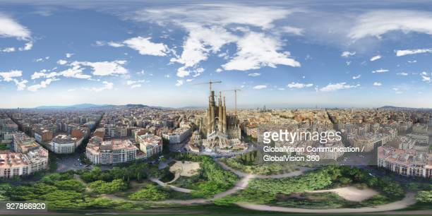 360-degree aerial view above sagrada familia in barcelona, spain - 360 degree view stock pictures, royalty-free photos & images